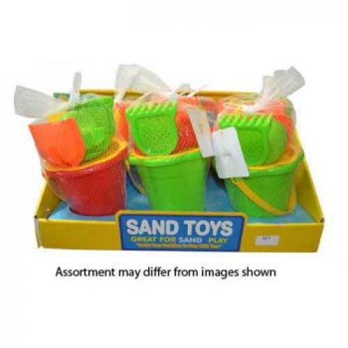 Beach Bucket with accessories - 6 assorted ( ONLY SOLD in a display of 6)